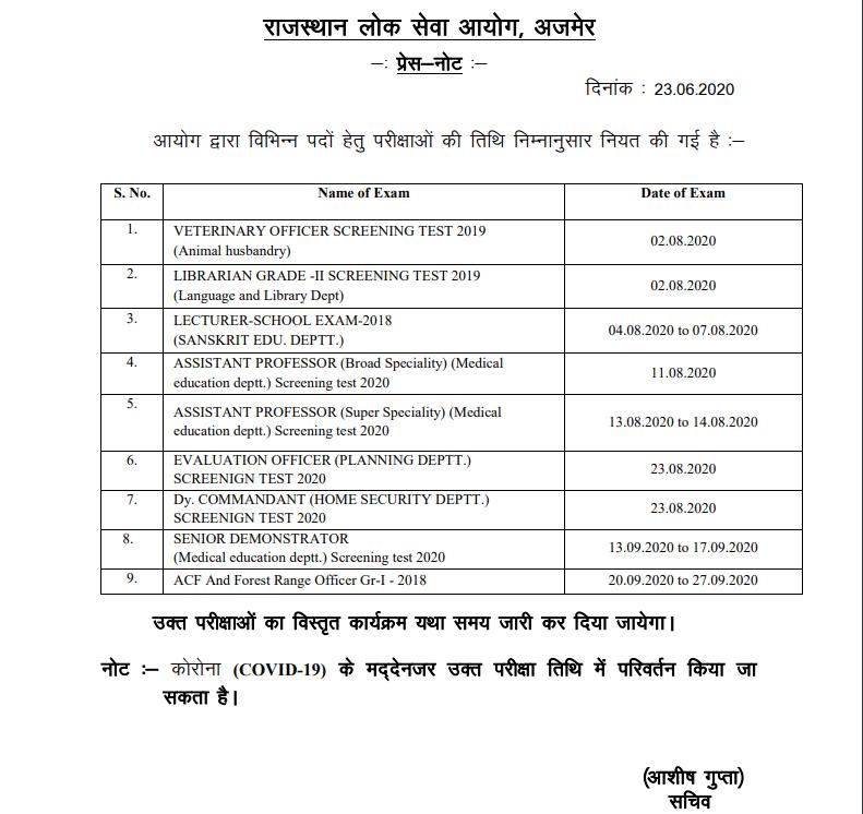 RPSC Veterinary Officer Exam Date 2020