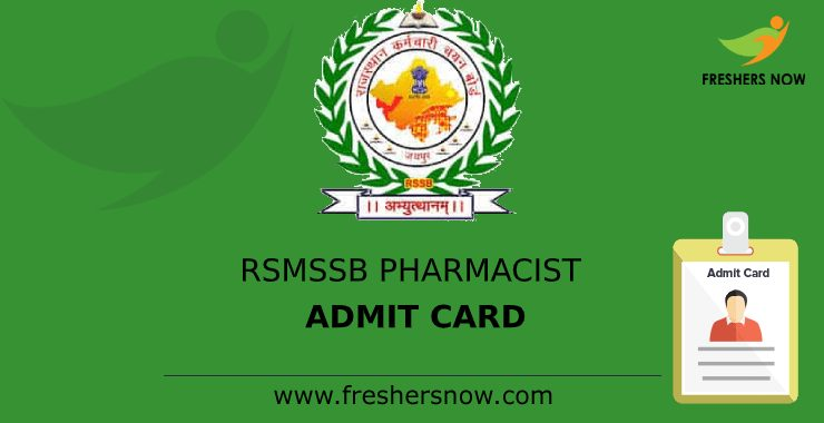 RSMSSB Pharmacist Admit Card 2020