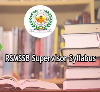 RSMSSB Supervisor Syllabus 2020