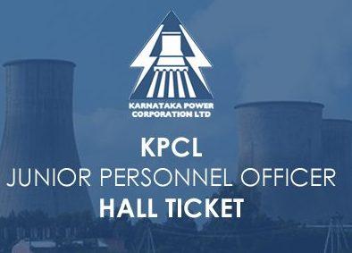 KPCL Junior Personnel Officer Hall Ticket 2020