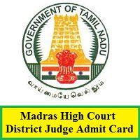 Madras Superior District Court Judge Admit Card 2020