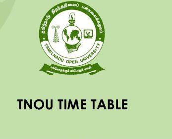 TNOU Time Table 2020