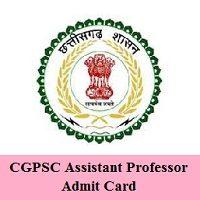 CGPSC Assistant Professor Admit Card 2020