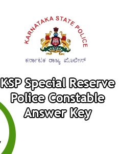 KSP Special Reserve Police Constable Answer Key 2020