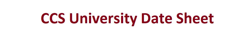 CCS University Date Sheet 2020