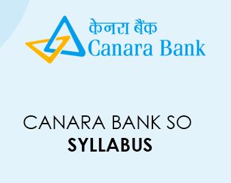 Canara Bank SO Syllabus 2020
