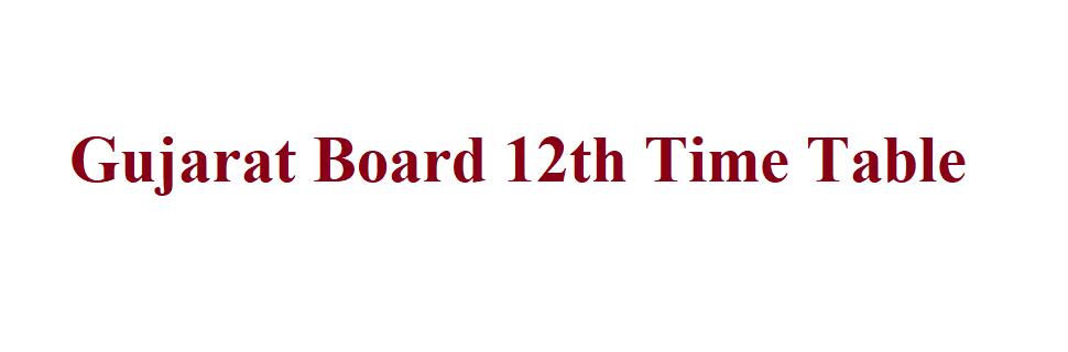 Gujarat Board 12th Time Table 2021