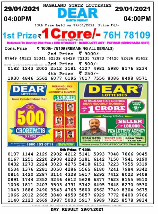 nagaland state lottery result 11.55 on 29.01.21