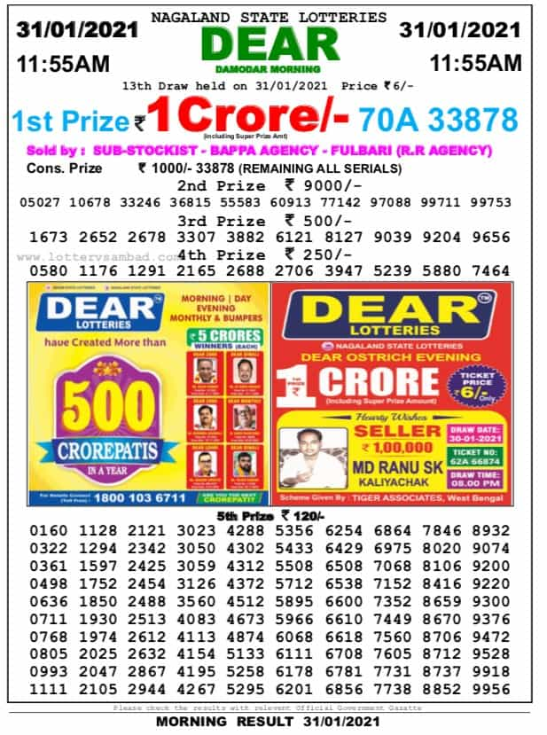 nagaland lottery result 11.55 am on 31st January
