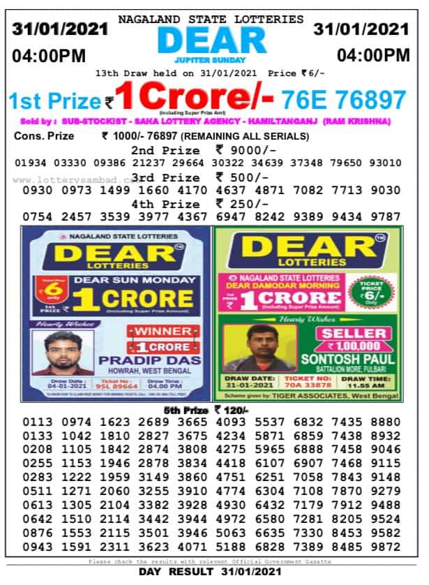 Nagaland state lottery Today result at 4 pm on 31.01.21
