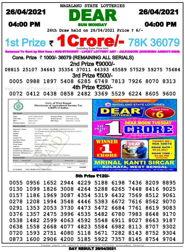 Nagaland State Lottery Result 4 PM 26 4 2021