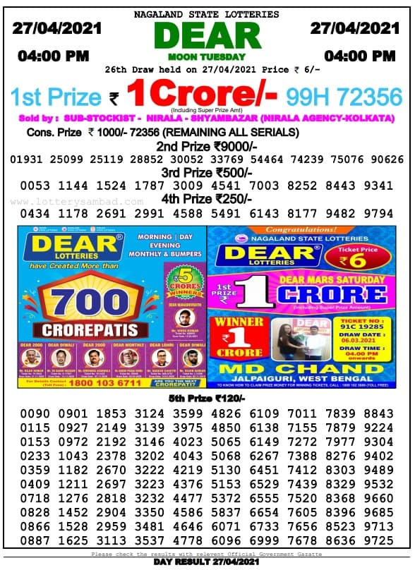 Nagaland State Lottery 4 PM Result 27.4.2021