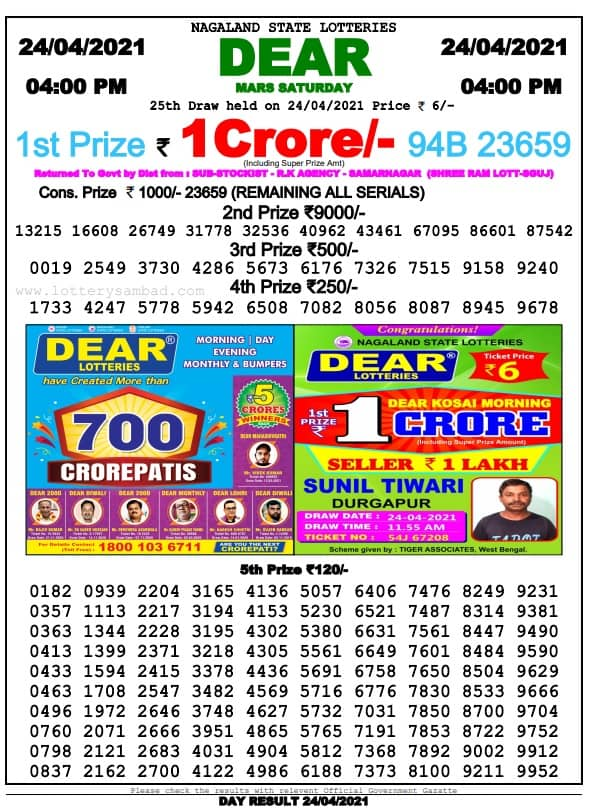 Nagaland State Lottery Result 4 PM 25 4 2021