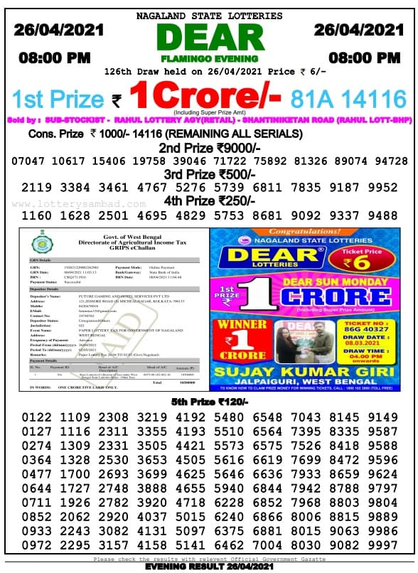 Nagaland State Lottery Result 26.4.2021 Live 8 PM
