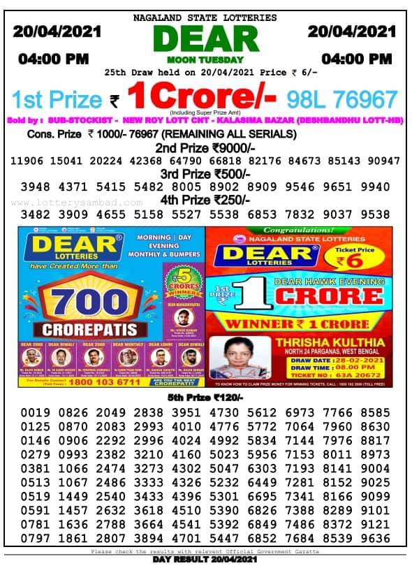 Nagaland State Lottery Result 4 PM 21 4 2021 Live