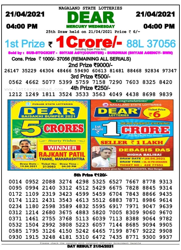 Nagaland State Lottery Result 4 PM 21 4 2021