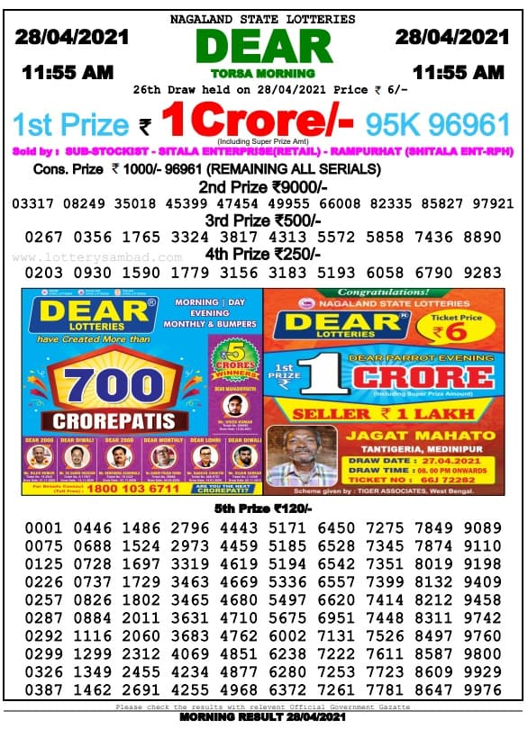 Sikkim State Lottery Result 29 4 2021 Live 11-55 AM