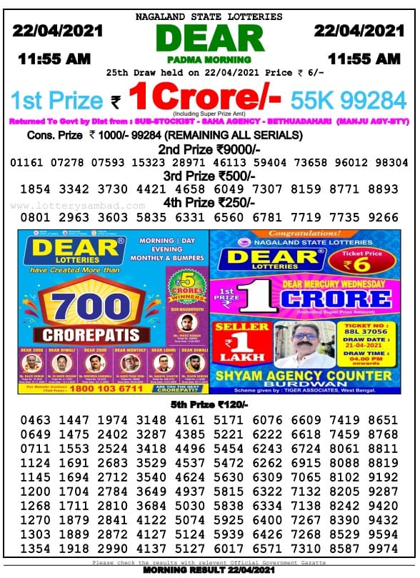 Sikkim State Lottery Result Today 22 4 2021 Live 11-55 AM