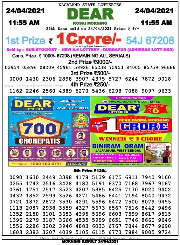 Sikkim State Lottery Result 24.4.2021 Live 11-55 AM