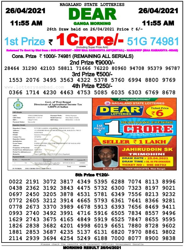 Sikkim State Lottery Result Today 26.4.2021 Live 11-55 AM